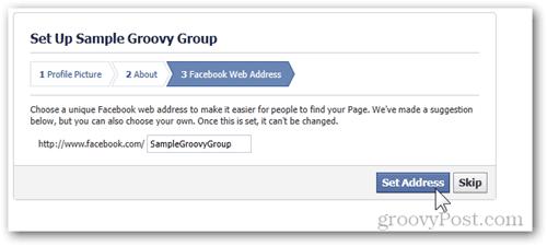 facebook setup group step 3 facebook web address set address