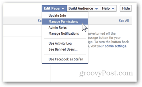 facebook page edit page manage permissions settings preferences
