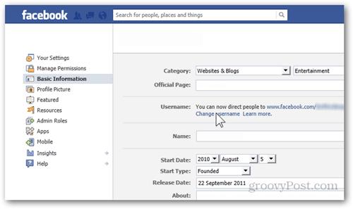 facebook settings preferences basic information username change username