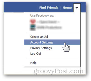 facebook home page button account settings preferences username url set