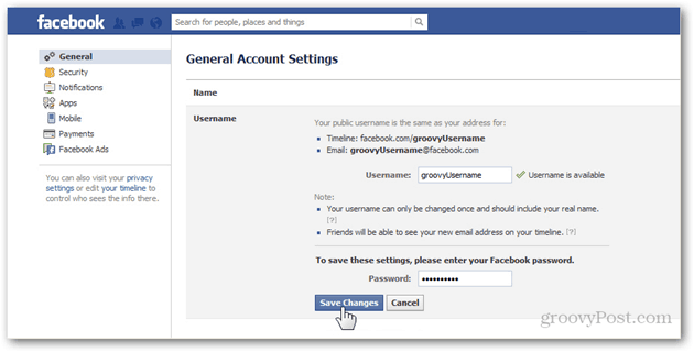 facebook general account settings preferences manage general username username password save changes confirm