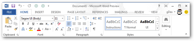 word 2013 toolbar and ribbon