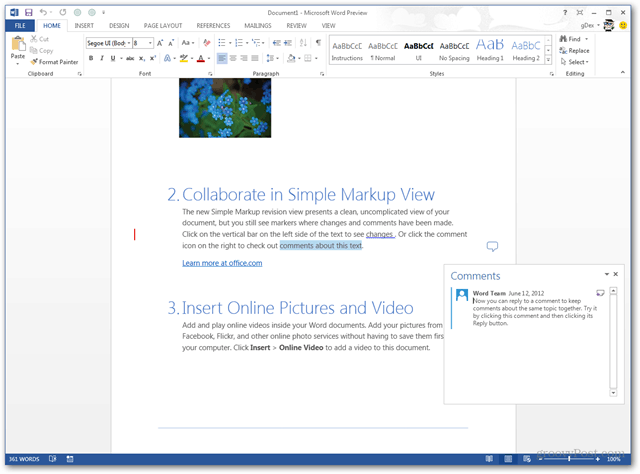 editing documents in office 2013