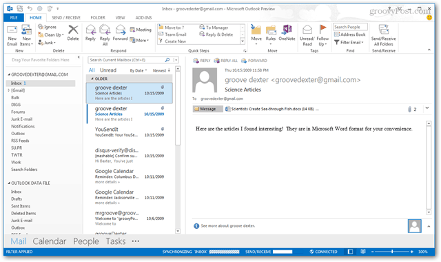 outlook 2013 inbox