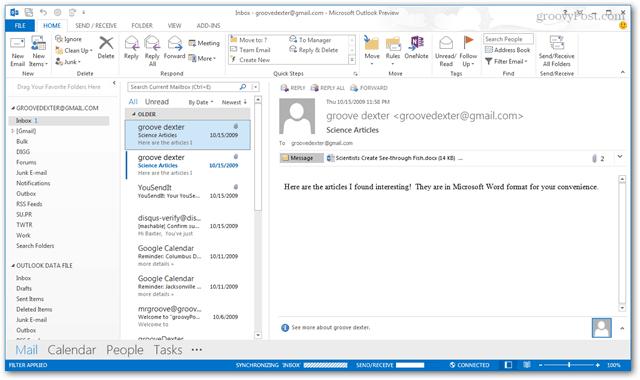 outlook 2013 inbox