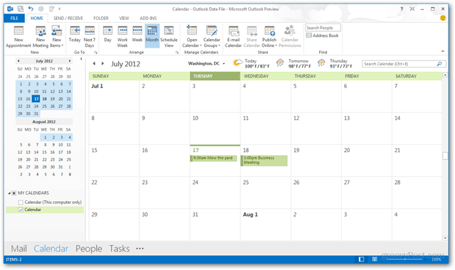 outlook 2013 calendar screenshot