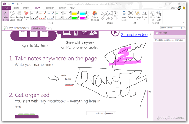 drawing in onenote 2013