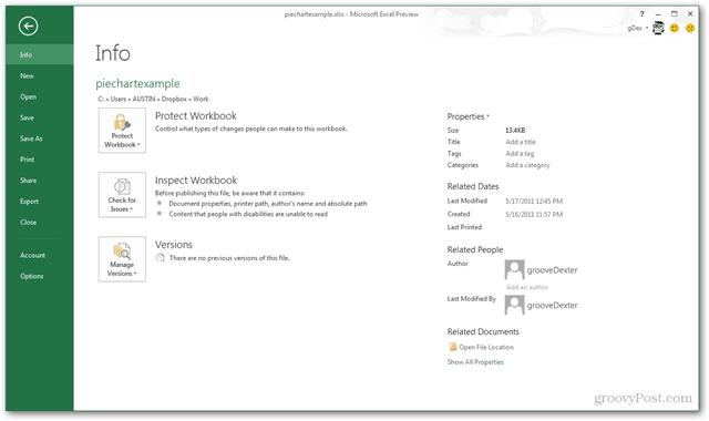 ecel 2013 file menu