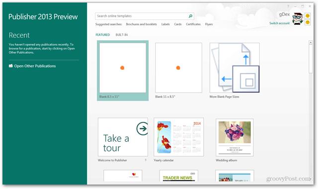 publisher 2013 start screen
