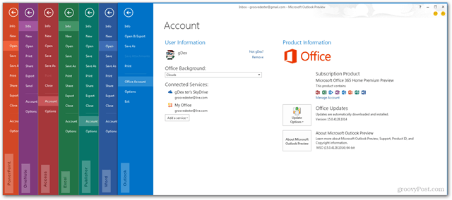Office 2013 apps File Ribbon