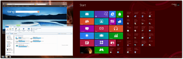 windows 8 extended desktop with metro and desktop