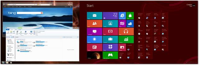 windows 8 extended desktop with metro and desktop