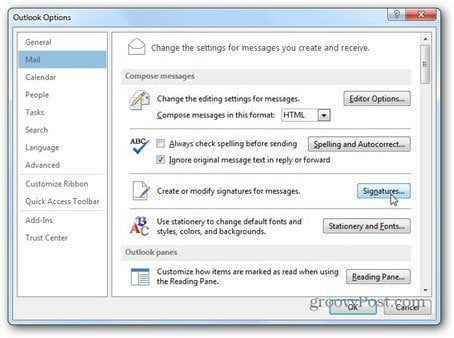 outlook 2013 use signature mail signatures