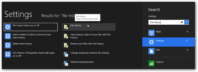 search File history Metro