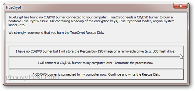 TrueCrypt No CD/DVD Burner