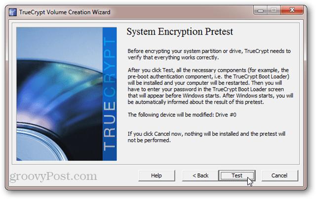TrueCrypt System Encryption Pretest