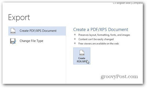 word 2013 save to pdf create pdf xps