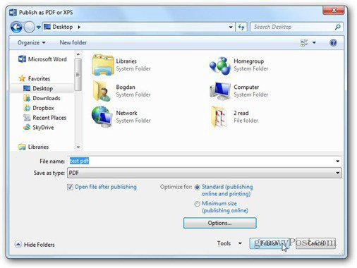 word 2013 save to pdf file publish
