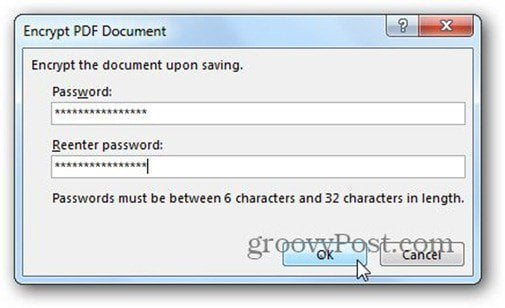 word 2013 save to pdf password