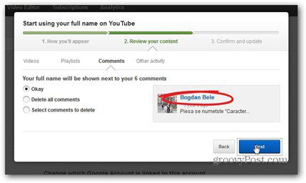 youtube real name comment review content make comments private