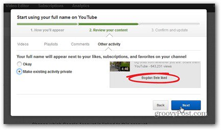 youtube real name comment review content make likes subscriptions private