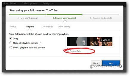 youtube real name comment review content make playlists private