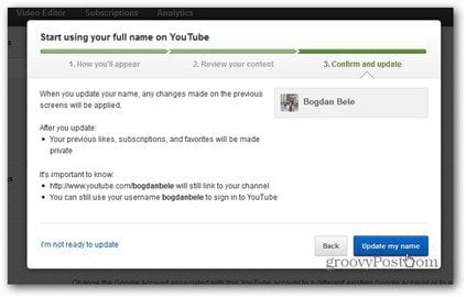 youtube real name comment update my name