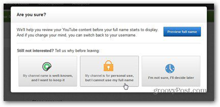 youtube real name refuse to use full name