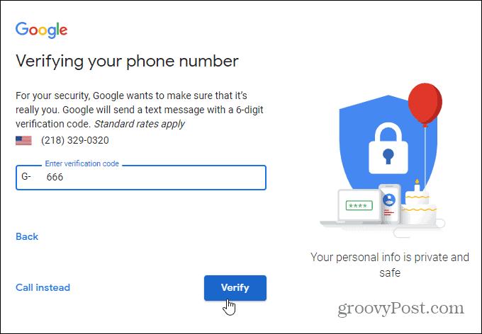 verification code gmail