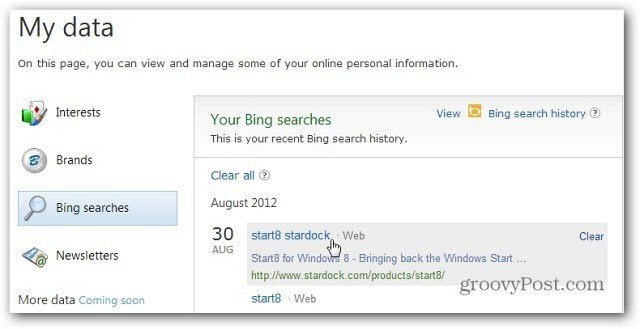 Bing Searches History