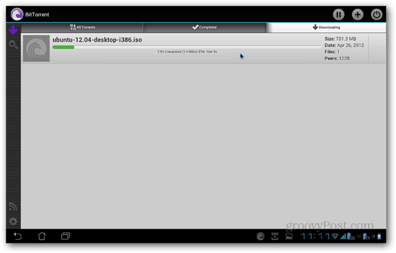 BitTorrent Beta Android downloading
