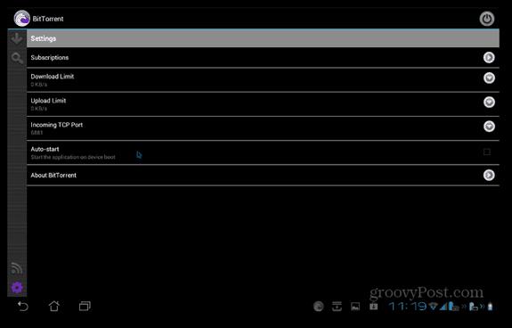 BitTorrent Beta Android settings