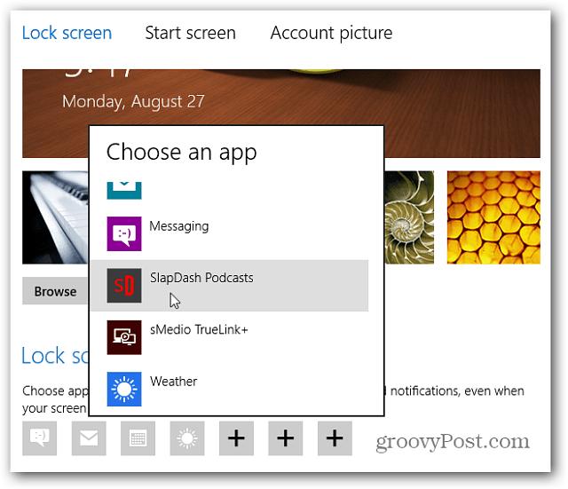 Choose an App for lockscreen