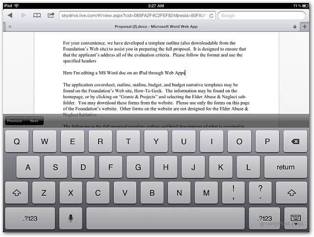 Editing Word Document iPad