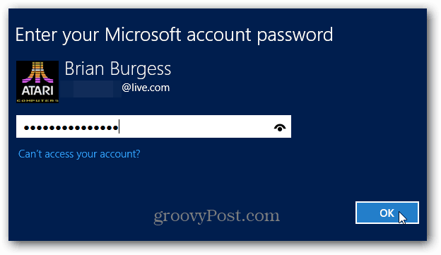 Enter MS Account