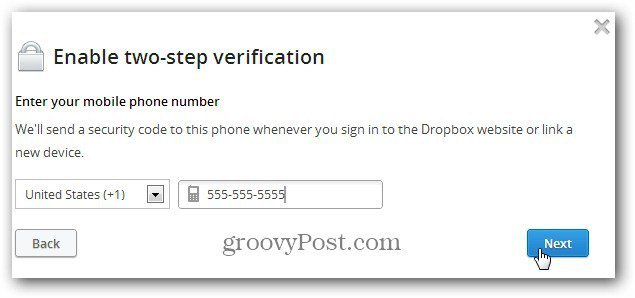 how to change phone number in drop box