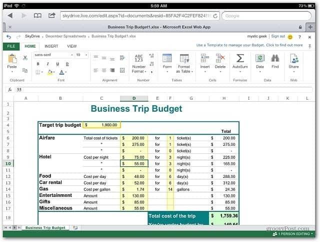 Excel Web App iOS