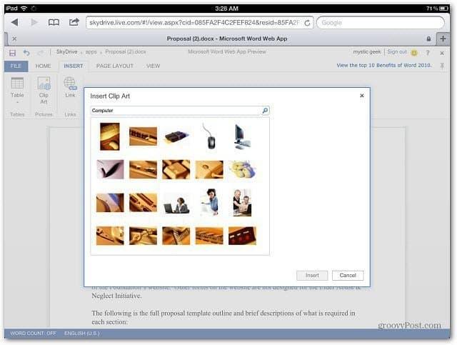 Insert Clip Art Office Web Apps iPad