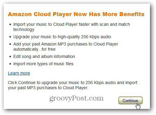 Log In Message Amazon Cloud Player