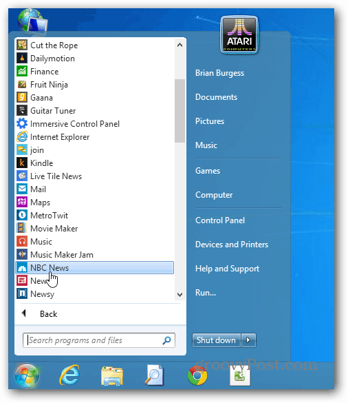 Metro and Desktop iTems
