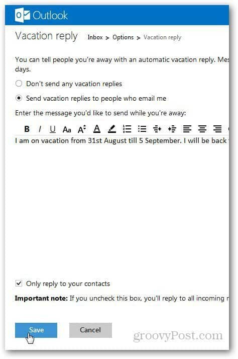 Outlook Vacation Message 3