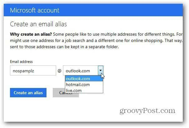 Outlook.com Alias Account