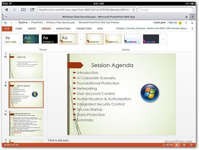 PowerPoint Office Web Apps iOS