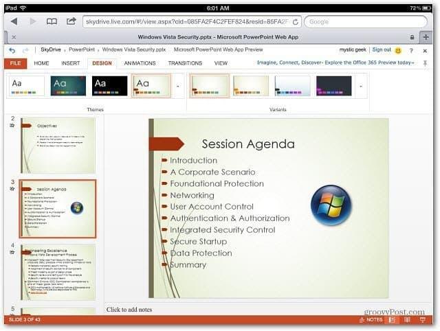PowerPoint Office Web Apps iOS