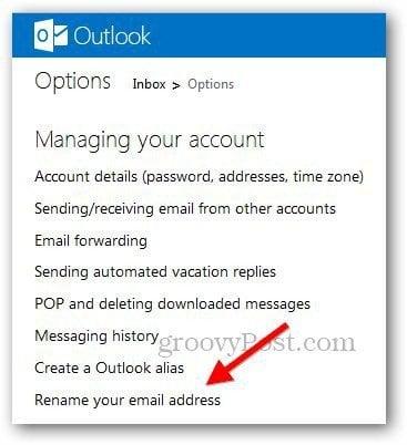 Rename Hotmail Address 2