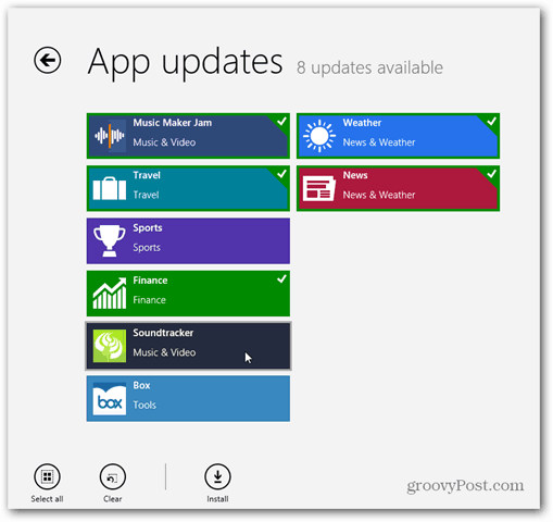 Select Apps to Update