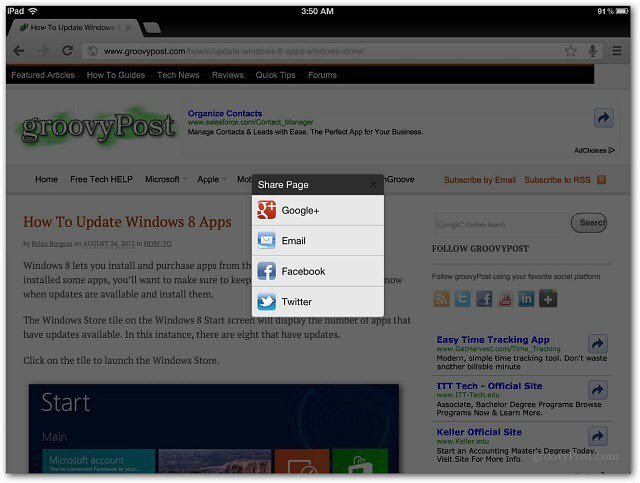 Google recently updated its Chrome browser app for iOS Google Chrome for iOS Lets You Share Webpages to Social Networks