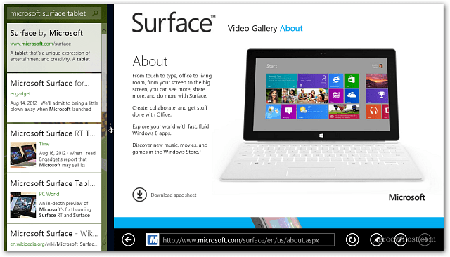 Surface View Bing IE