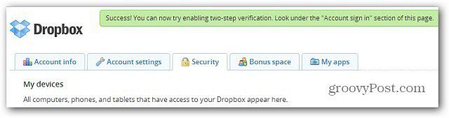 Two Factor Auth Message