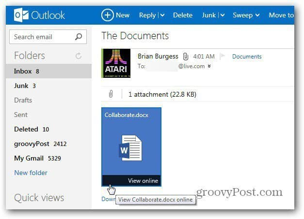 outlook com  use office web apps to edit documents online